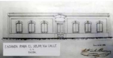 Plano de la fachada de la escuela