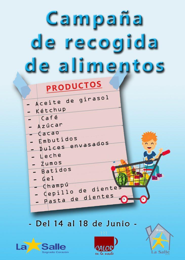 Listado de productos para la campaña de recogida de alimentos
