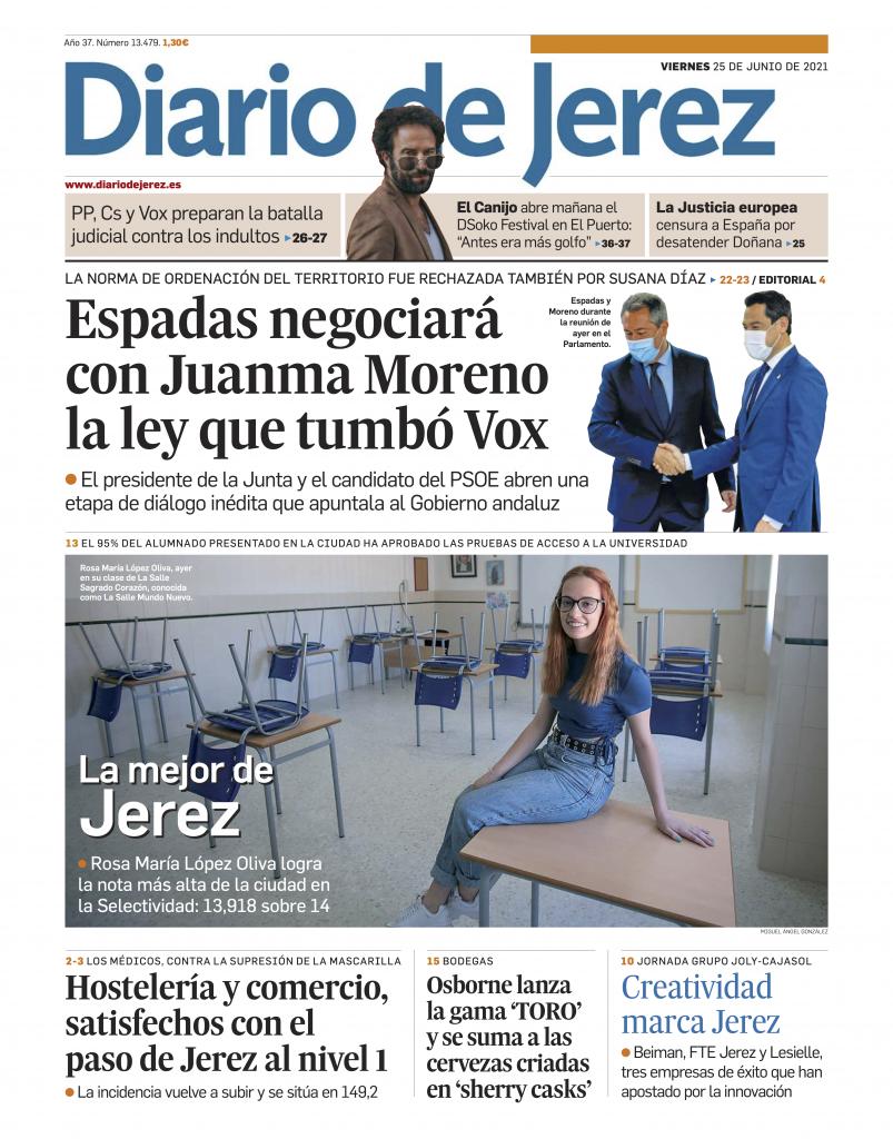 Portada Diario de Jerez 25 junio 2021