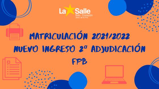 Matriculación FPB 2ª adj julio 2021